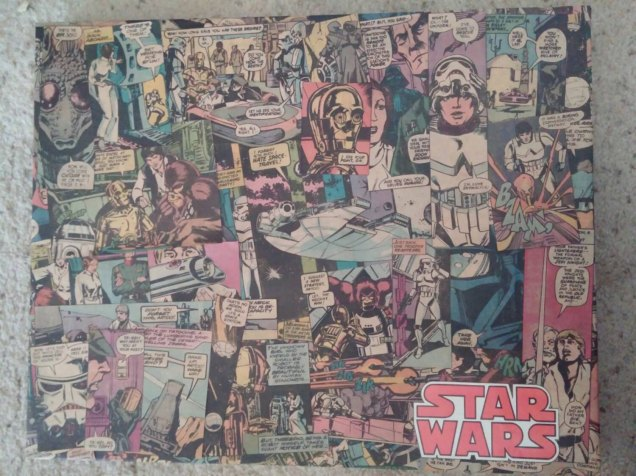 """Made from a Marvel Special Edition Over Sized Star Wars Comic. Copyright 1977 Issue #1. This collage is 16"""" x 20"""" it has been sprayed with a clear coat and comes with a Lucite cover, it has holes in back ready for hanging."""