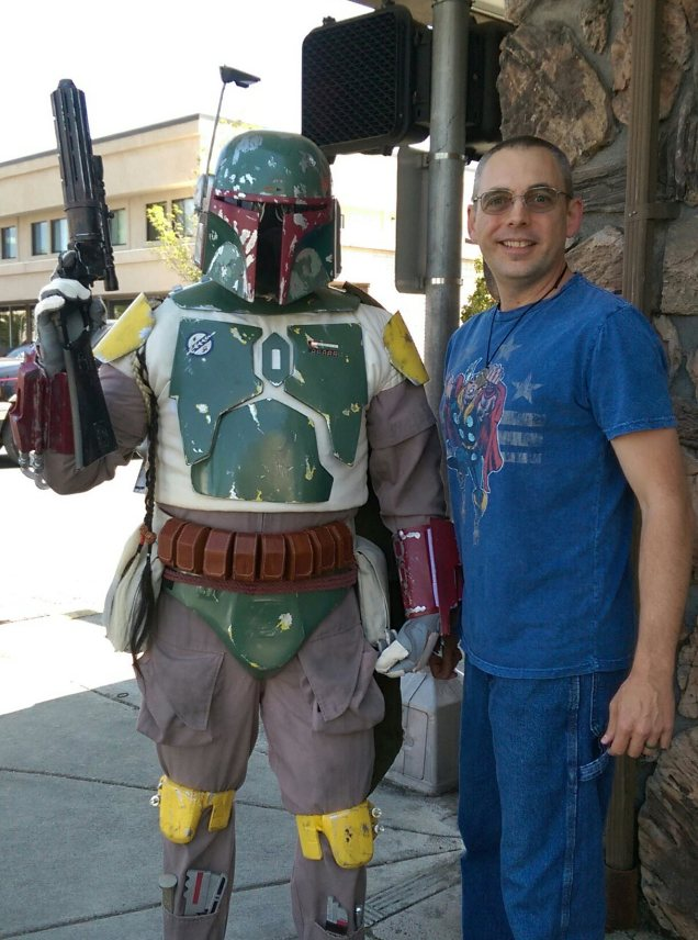 Me and my pal, Boba Fett. I could be like Jimmy Olsen! I wonder if he'll give me a Signal Watch? ^_^  Free Comic Book Day 02, May 2015.