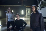 "The Flash -- ""Power Outage"" -- Image FLA107c_0044b -- Pictured (L-R): Danielle Panabaker as Caitlin Snow, Tom Cavanagh as Dr. Harrison Well, and Carlos Valdes as Cisco Ramon -- Photo: Diyah Pera/The CW -- © 2014 The CW Network, LLC. All rights reserved."