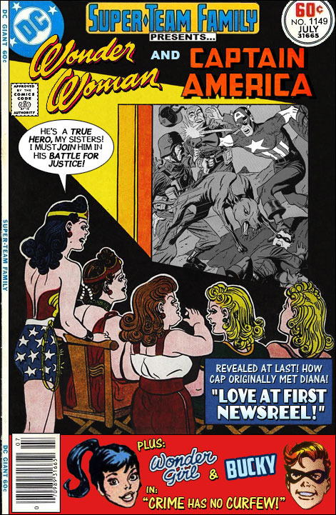 """Wonder Woman and Captain America in """"Love at First Newsreel!"""""""